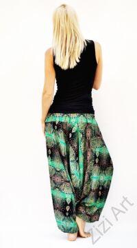 női, divat, nadrág, mandala, fekete, zöld, trend, kényelmes, bő, szellős, viszkóz, egyedi, extravagáns, különleges, bohém, Thaiföld
