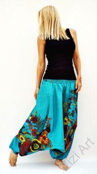 pamut, aladdin, nadrág, türkiz, színes, virágos, divat, trend, bő, szárú, kényelmes, egyedi, extravagáns, Nepál
