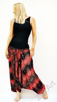női, divat, nadrág, mandala, fekete, piros, trend, kényelmes, bő, szellős, viszkóz, egyedi, extravagáns, különleges, bohém, Thaiföld