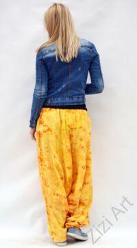 aladdin, nadrág, női, bő szárú, batikolt, mintás, kényelmes, sárga,  pamut, géz, laza, bohém, extravagáns, egyedi, női, divat, trend, Nepál