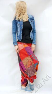 pamut, aladdin, nadrág, piros, lila, barackszínű, színes, patchwork, mintás, divat, trend, bő, szárú, kényelmes, egyedi, extravagáns, Nepál