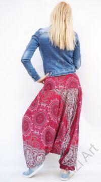 női, divat, nadrág, bordó, fehér, piros, mandala, mintás, trend, kényelmes, bő, szellős, viszkóz, egyedi, extravagáns, különleges, bohém, Thaiföld