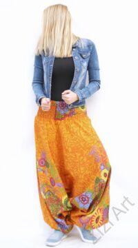 pamut, aladdin, nadrág, narancs,  sárga, virágindás, virágos, divat, trend, bő, szárú, kényelmes, egyedi, extravagáns, Nepál, nyaralás, tengerpart