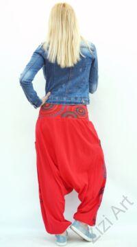 fekete, kék, piros, pamut, bő, lezser, aladdin, nadrág, öv, rátét, Nepál, női, divat, trend, egyedi, extravagáns, bohém