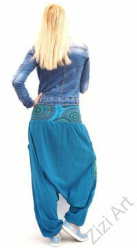 keki, zöld, krém, piros, pamut, bő, lezser, aladdin, nadrág, öv, rátét, Nepál, női, divat, trend, egyedi, extravagáns, bohém