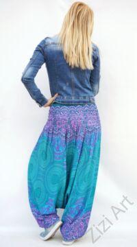 női, divat, nadrág, lila, türkiz zöld, kék, trend, kényelmes, bő, szellős, viszkóz, egyedi, extravagáns, különleges, bohém, Thaiföld