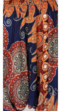 aladdin, nadrág, kék, narancs, mandala, levél, mintás, kényelmes, bő, szellős, viszkóz, egyedi, extravagáns, különleges, bohém, Thaiföld, női, divat, trend