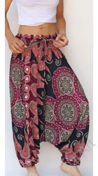 aladdin, nadrág, kék, pink, mályva, mandala, levél, mintás, kényelmes, bő, szellős, viszkóz, egyedi, extravagáns, különleges, bohém, Thaiföld, női, divat, trend