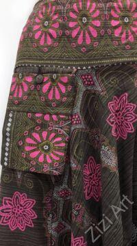 bő szárú, aladdin, nadrág, szürke, fekete, mályva, zöld, pink, fehér, pamut vászon, indiai, mintás, zsebes, megkötős, női, divat, trend
