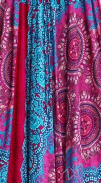 női, divat, nadrág, kék, pink, mandala, virág, mintás, kényelmes, bő, szellős, viszkóz, egyedi, extravagáns, különleges, bohém, trend, Thaiföld