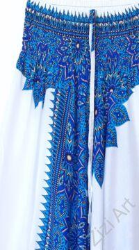 aladdin, nadrág, kék, fehér, virág, mandala, mintás, kényelmes, bő, szellős, viszkóz, bohém, extravagáns, különleges, Thaiföld, női, divat, trend