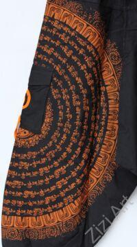 pamut, aladdin, nadrág, fekete, narancs, kör, mandala, szanszkrit, szöveg, írás, divat, trend, bő, szárú, kényelmes, egyedi, extravagáns, Nepál