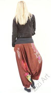 pamut, aladdin, nadrág, barna, színes, virágos, divat, trend, bő, szárú, kényelmes, egyedi, extravagáns, Nepál