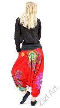 pamut, aladdin, nadrág, piros, színes, virágos, divat, trend, bő, szárú, kényelmes, egyedi, extravagáns, Nepál
