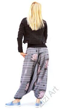 bő szárú, aladdin, nadrág, szürke, narancs, pamut vászon, indiai, mintás, zsebes, megkötős, női, divat, trend