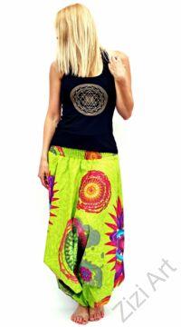 pamut, aladdin, nadrág, kiwi, zöld, színes, virágos, mandala, divat, trend, bő, szárú, kényelmes, egyedi, extravagáns, Nepál