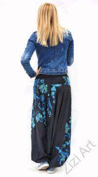 pamut, aladdin, nadrág, fekete, kék, zöld, virágos, divat, trend, bő, szárú, kényelmes, egyedi, extravagáns, Nepál