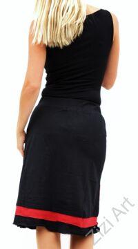 női, pamut, térdszoknya, kék, piros, fekete, absztrakt, mintás, trend, divat, egyedi, bohém, extravagáns, egzotikus, elasztikus, portugál, 101 idées