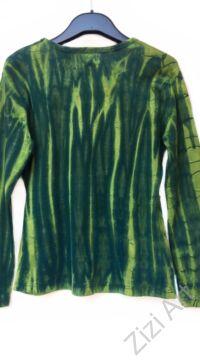 hosszú ujjú, vastag, meleg, pamut, felső, póló, színes, zöld, virág, mintás, vidám, bohém, hippi, laza, női, divat, trend
