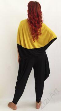 mustársárga, fekete, denevér ujjú, felső, nyaklánccal, designer, olasz, bő, lezser, egyedi, vidám, elegáns, különleges, női, divat, bohém, trend