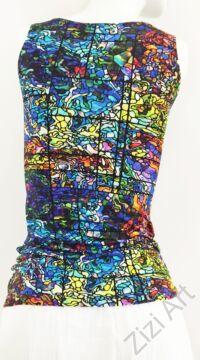 élénk, színes, kék, narancs, piros, sárga, mintás, felső, póló, női, egyedi, bohém, absztrakt, extravagáns, különleges, divat, trend