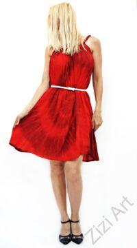 mini, ruha, szines, piros, fekete, batikolt, spagettipántos, vidám, bohém, hippi, laza, női, divat, trend