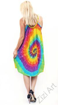mini, ruha, színes, szivárvány, batikolt, spagettipántos, vidám, bohém, hippi, laza, női, divat, trend
