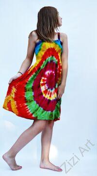 sárga,narancs, pink, batikolt, szivárványos, élénk, vidám. színes, gyerek, ruha, szellős, kényelmes, viszkóz, India, trend, divat