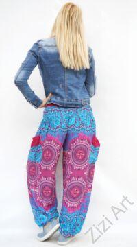 női, divat, pink, kék, mandala, mintás, bő, viszkóz, nadrág, színes, trend, kényelmes, szellős, egyedi, extravagáns, különleges, bohém, jázmin, Thaiföld