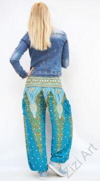 női, divat, nadrág, pávatoll, mintás, színes, kék, zöld, narancs, bordűr, trend, kényelmes, bő, szellős, viszkóz, egyedi, extravagáns, különleges, bohém, jázmin, Thaiföld