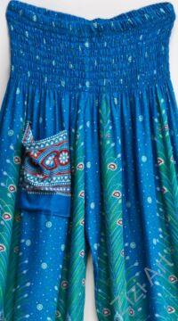 jázmin nadrág, türkizkék, kék, pávatollas, bohém, elegáns, kényelmes, darázsolt derekú, húzott derekú, viszkóz, nyári, napsütés, tengerpart, nyaralás, kirándulás, zsebes, ülepes, thaiföldi