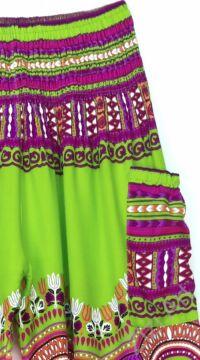 bő, viszkóz, nadrág, élénk, kiwi, zöld, színes, kör, etno, mintás, színes, női, divat, trend, kényelmes, szellős,  bohém, jázmin, Thaiföld, nagy méret, extra méretezés, plus size