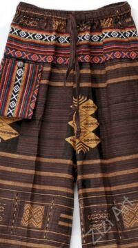 bő szárú, jázmin, nadrág, barna, okker, sárga, narancs, pamut vászon, indiai, mintás, zsebes, megkötős, női, divat, trend