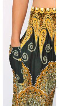 jázmin, nadrág, sárga, zöld, mandala, levél, mintás, bő, viszkóz, nadrág, színes, trend, kényelmes, szellős, egyedi, extravagáns, különleges, bohém, Thaiföld, trend, női, divat