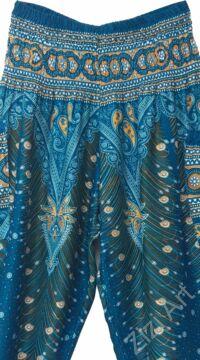 női, divat, türkiz, zöld, bő, viszkóz, nadrág, levél, pávatoll, élénk, színes, trend, kényelmes, szellős, egyedi, extravagáns, különleges, bohém, jázmin, Thaiföld