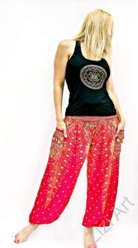női, divat, pink, piros, rózsaszín, bő, viszkóz, nadrág, levél, pávatoll, élénk, színes, trend, kényelmes, szellős, egyedi, extravagáns, különleges, bohém, jázmin, Thaiföld
