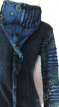 kék, kiwi, zöld, mandala, mintás, hosszú, kardigán, pulóver, Nepál, meleg, polár, bélelt, thermo, manó, kapucni, egzotikus, cipzár, ősz, tél, egyedi, vidám