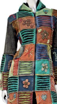 hosszú, kardigán, pulóver, virág, patchwork, mintás, kék, barna, zöld, narancs, szürke, Nepál, egzotikus, meleg, polár, bélelt, thermo, manó, kapucni, cipzár, ősz, tél, egyedi, vidám