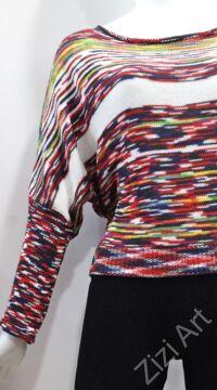 csíkos, színes, kötött, denevérujjú, pulóver, hosszú, mintás, pulcsi, háromnegyedes, ujjú, kerek, nyakú