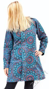 türkiz, mályva, kék, mintás, színes, meleg, közép hosszú, hosszított, mandalás, kabát, polár, bélelt, tél, ősz, elegáns, egyedi, cipzár, Nepál, kapucni, egzotikus