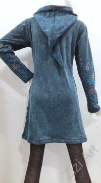 kék, szürke, hosszú, zsebes, kardigán, pulóver, mandala, virág, színes, Nepál, egzotikus, meleg, polár, bélelt, thermo, manó, kapucni, cipzár, ősz, tél, egyedi, vidám