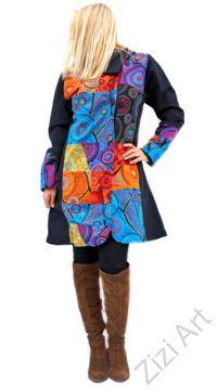 piros, kék, narancs, lila, mandalás, fekete, patchwork, mintás, betétes, színes, meleg, közép hosszú, hosszított, hímzett, pamut, pamutszövet, pamut, kabát, polár, bélelt, tél, ősz, elegáns, egyedi, cipzár, Nepál, kapucni, egzotikus, különleges, red, blue