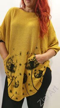 világos, mustár, sárga, fekete, kötött, pulóver, hosszú, pitypang, virágos, pulcsi, háromnegyedes, ujjú, kerek, nyakú