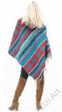 pamut, poncsó, türkiz, kék, piros fekete, kapucnis, Nepál, meleg, őszi, téli, egyedi, női, divat, trend