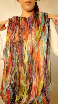 színes, sárga, barna, narancs, kék, zöld, piros, rózsaszín, nagy, körsál, kendő, szivárvány, mintás, finom, puha, meleg, egyedi, elegáns, divat, női, trend, selyem, viszkóz