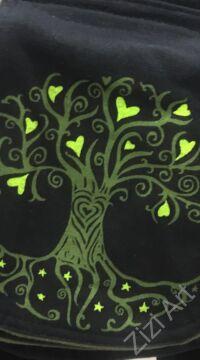övtáska, egyedi, pamut, textil, táska, életfa, mintás, színes, fekete, kiwi, zöld, pink, kiegészítő, trend. női, férfi divat