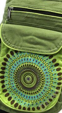 övtáska, egyedi, pamut, textil, táska, mandala, mintás, színes, keki, kiwi, zöld, kiegészítő, trend. női, férfi divat