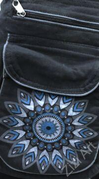 övtáska, egyedi, pamut, textil, táska, virág, mandala, mintás, színes, fekete, kék, fehér, kiegészítő, trend. női, férfi divat
