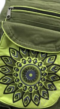 övtáska, egyedi, pamut, textil, táska, virág, mandala, mintás, színes, keki, kiwi, zöld, kiegészítő, trend. női, férfi divat