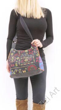 textil, pamut, vászon, táska, válltáska,szürke, fekete,  piros, narancs, lila, szürke, kék, színes, patchwork, mandala, babakocsihoz, kirándulós táska,, praktikus, egyedi
